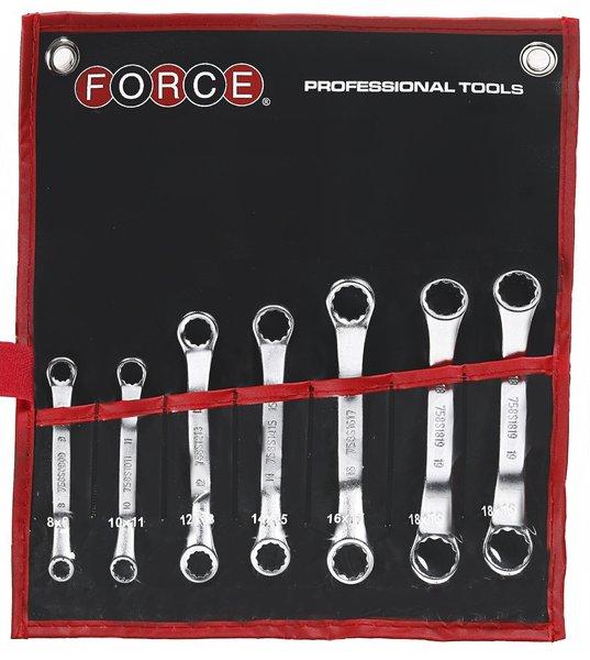 FORCE 50714 Mini ringsleutelset 7 delig (45° gebogen)-0