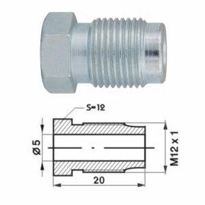 Remleidingnippel M12 x 1,00 mm - 10 stuks AL-RN104-0