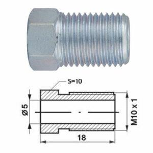 Remleidingnippel M10 x 1,00 mm - 10 stuks AL-RN116-0
