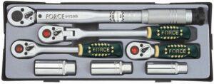 """FORCE T30711 3/8"""" Ratelset met momentsleutel 7 delig-0"""
