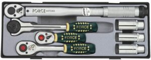 """FORCE T30712 3/8"""" Ratelset met momentsleutel 7 delig-0"""