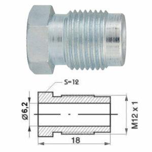 Remleidingnippel M12 x 1,00 mm - 10 stuks AL-RN102-0