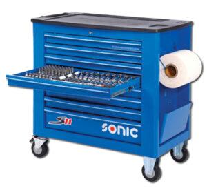SONIC 734518 Gereedschapswagen S11 gevuld (345 delig) Blauw-0