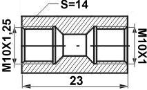 Remleiding Koppelstuk M10 x 1,25 mm / M10 x 1,00 mm - RK-123-0
