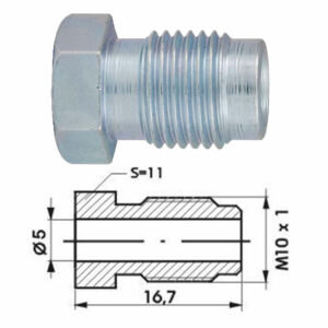 Remleidingnippel M10 x 1,00 mm - 10 stuks AL-RN105a-0