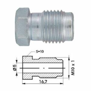 Remleidingnippel M10 x 1,00 mm - 10 stuks AL-RN105d-0