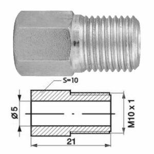 Remleidingnippel M10 x 1,00 mm - 10 stuks AL-RN116x-0