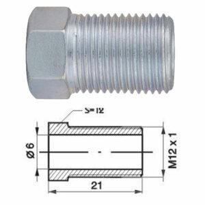 Remleidingnippel M12 x 1,00 mm - 10 stuks AL-RN119-0