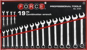 FORCE 5191 Steekringsleutelset 19 delig-0