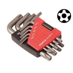 FORCE 50913 Haakse 5-kant Resistorx TS sleutelset 9 delig-0