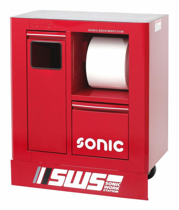 SONIC 47470 SWS 32`` Gereedschapswagen m afvalbak&papierrolhouder rood-0