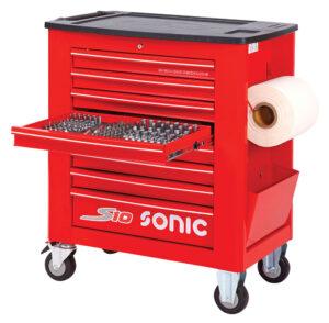 SONIC 742015 Gereedschapswagen S10 gevuld (420 delig) Rood-0