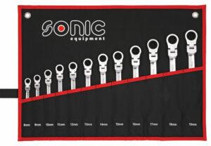 SONIC 601218 Ratelringsteeksleutelset flexibel 12-kant in etui 12-delig-0