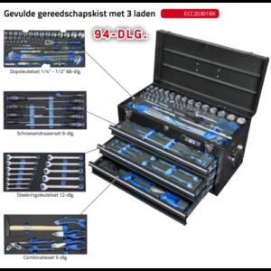 BOXO ECC20301BK Gevulde gereedschapskist met 3 laden 94-dlg.-0