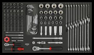 SONIC 213001 Doppen 1/4``, 3/8`` & sleutelset, 130-dlg. SFS-0