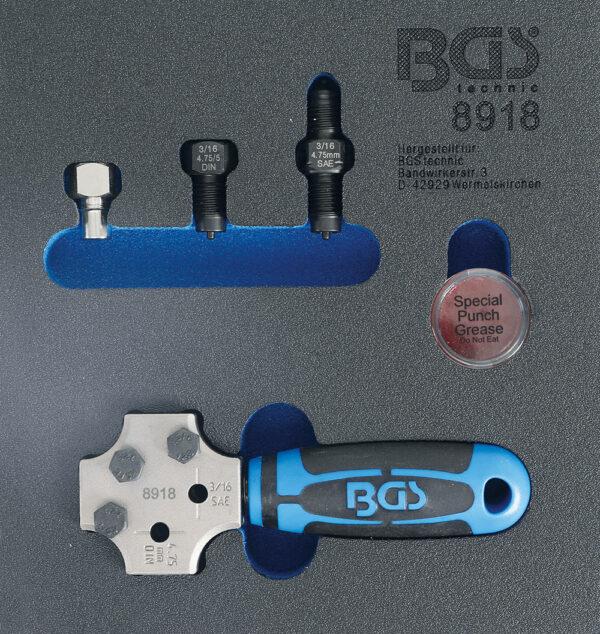 "BGS 8918 Remleiding fels set DIN 4.75 mm & 3/16"" SAE-0"